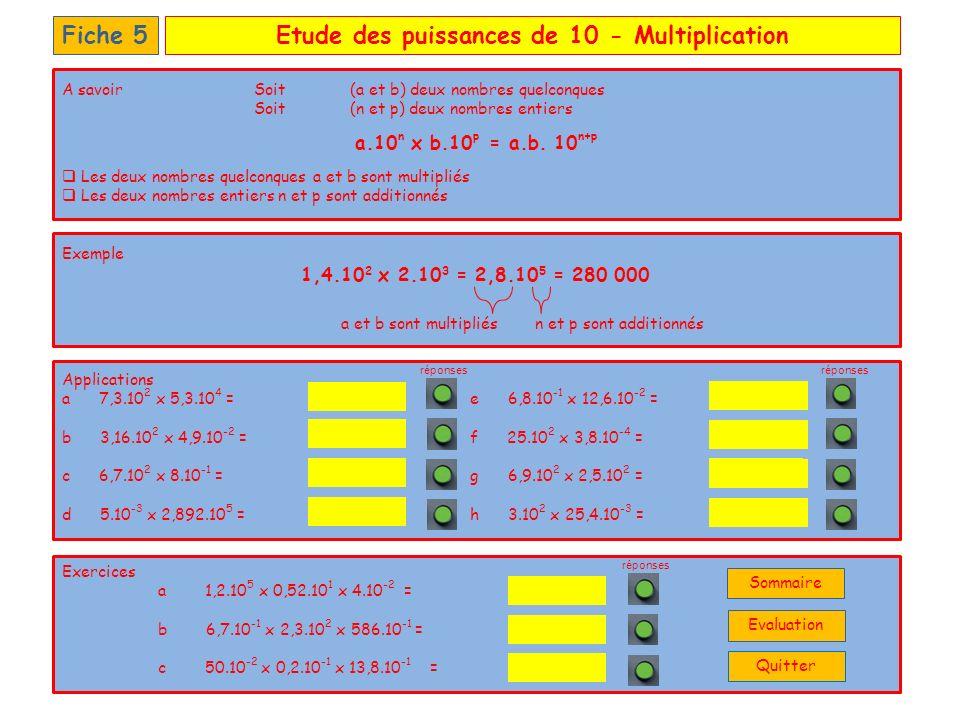 Etude des puissances de 10 - Multiplication