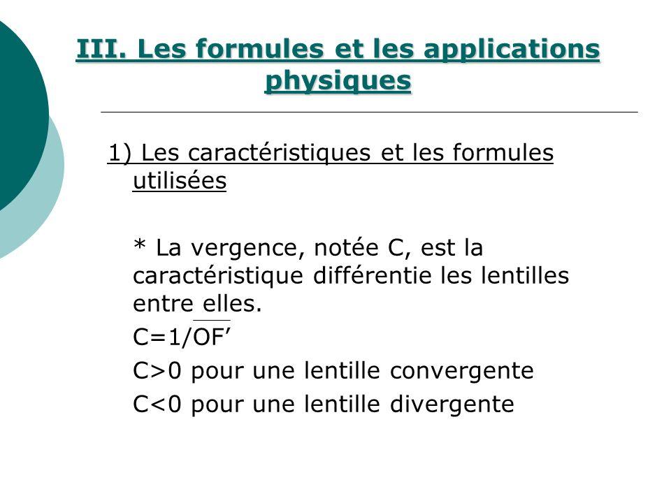 III. Les formules et les applications physiques