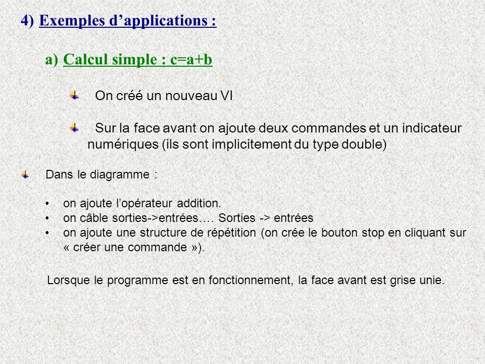 Exemples d'applications : Calcul simple : c=a+b