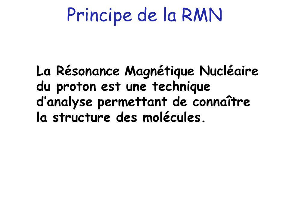 Principe de la RMN La Résonance Magnétique Nucléaire du proton est une technique d'analyse permettant de connaître la structure des molécules.