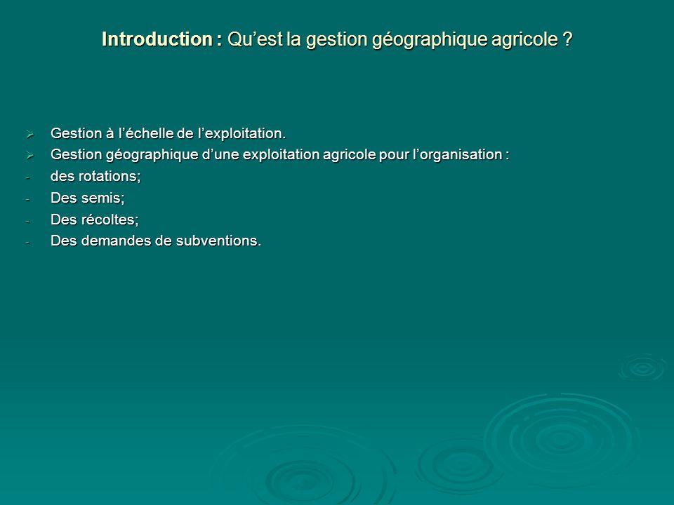 Introduction : Qu'est la gestion géographique agricole