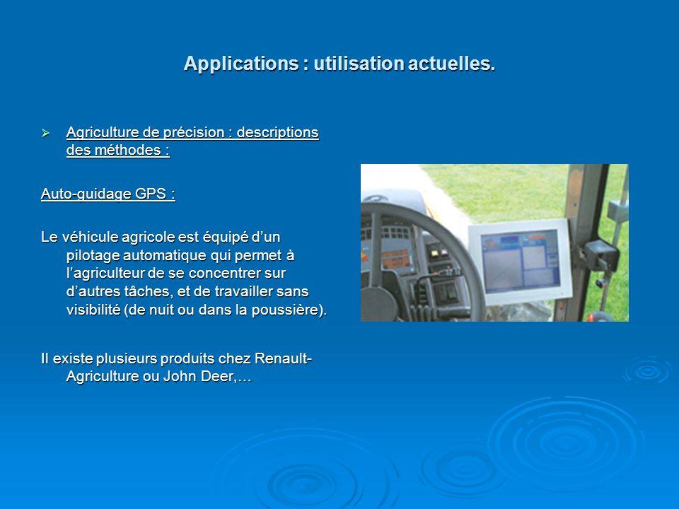 Applications : utilisation actuelles.