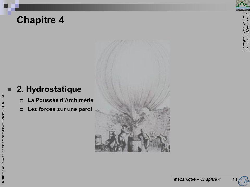 Chapitre 4 2. Hydrostatique La Poussée d'Archimède