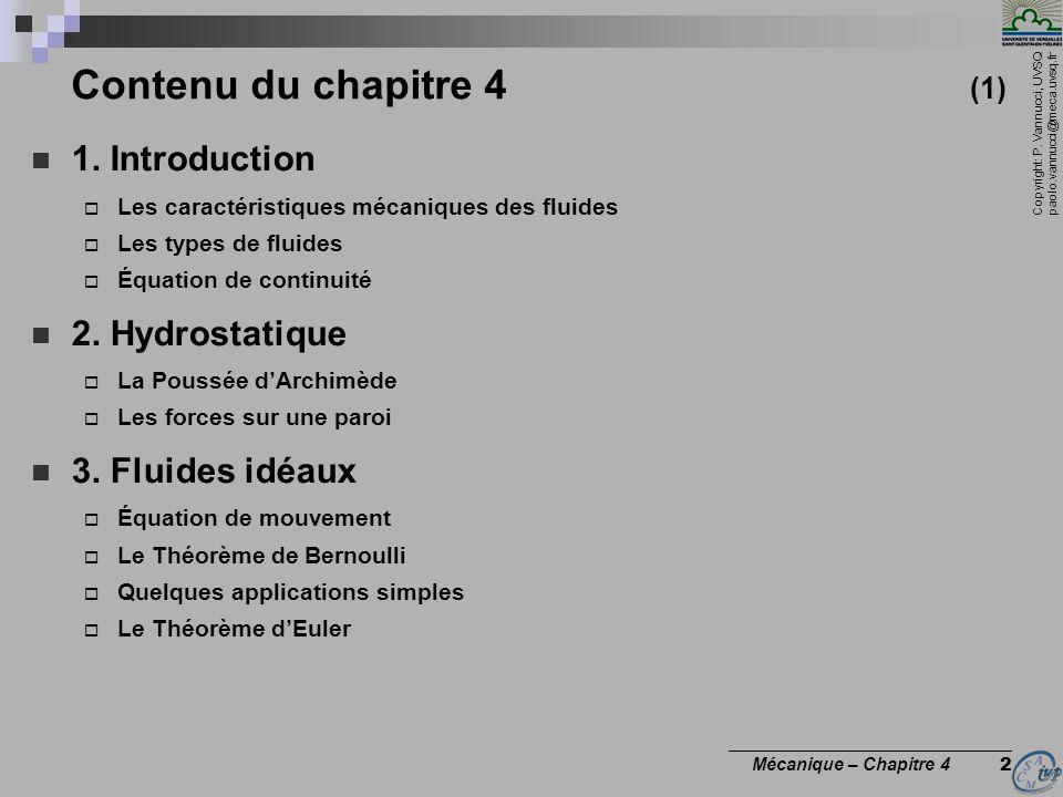 Contenu du chapitre 4 (1) 1. Introduction 2. Hydrostatique