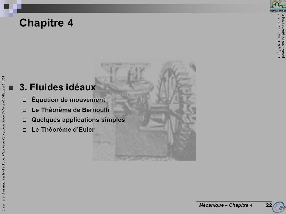 Chapitre 4 3. Fluides idéaux Équation de mouvement