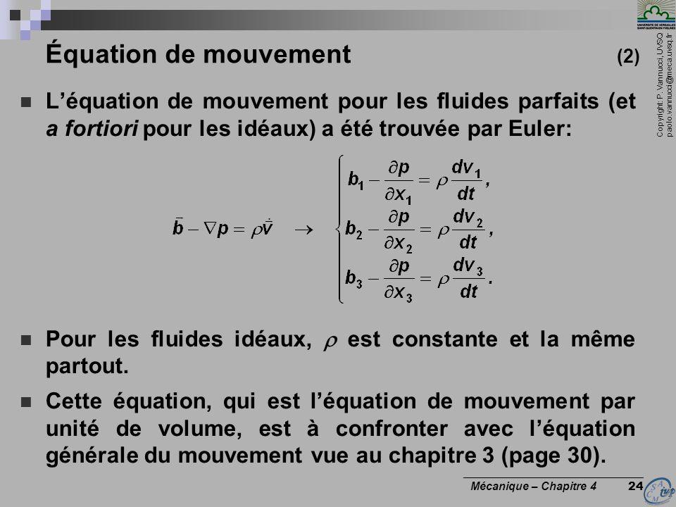 Équation de mouvement (2)