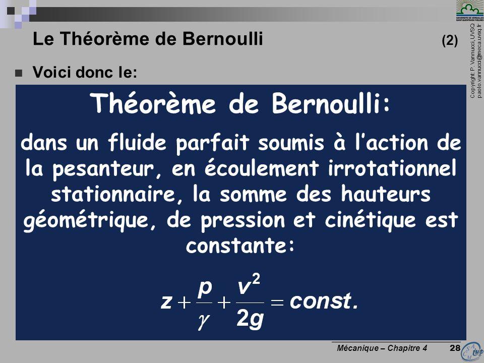 Le Théorème de Bernoulli (2)