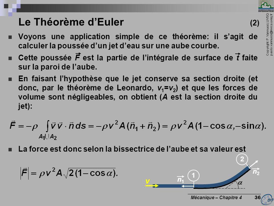 Le Théorème d'Euler (2) Voyons une application simple de ce théorème: il s'agit de calculer la poussée d'un jet d'eau sur une aube courbe.