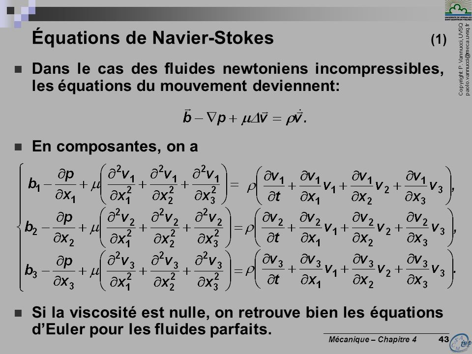 Équations de Navier-Stokes (1)