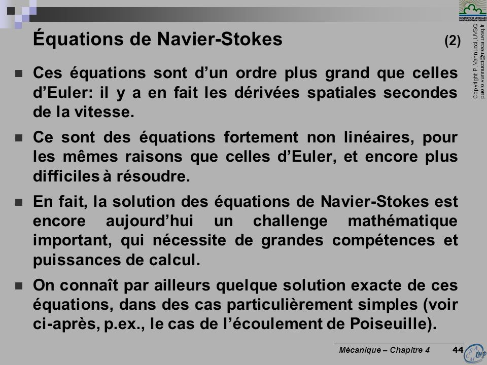 Équations de Navier-Stokes (2)