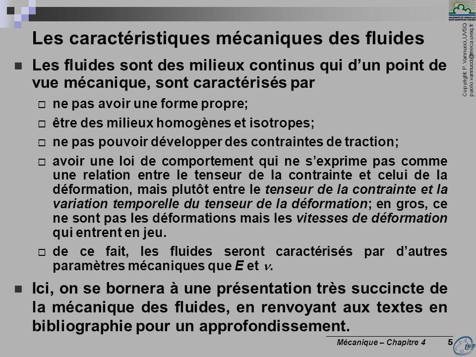 Les caractéristiques mécaniques des fluides