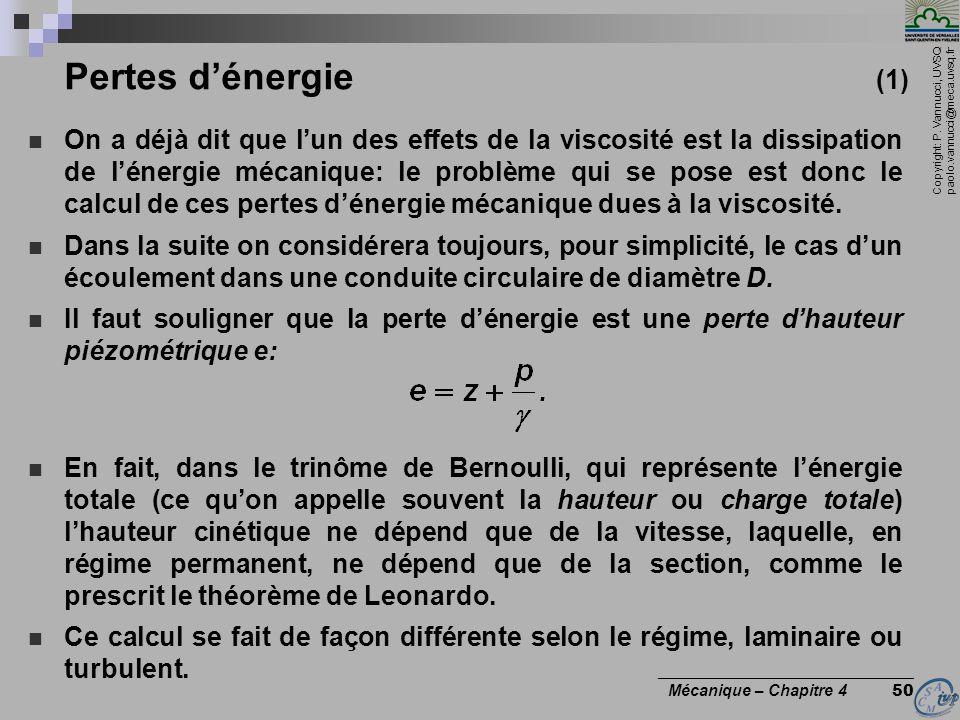 Pertes d'énergie (1)