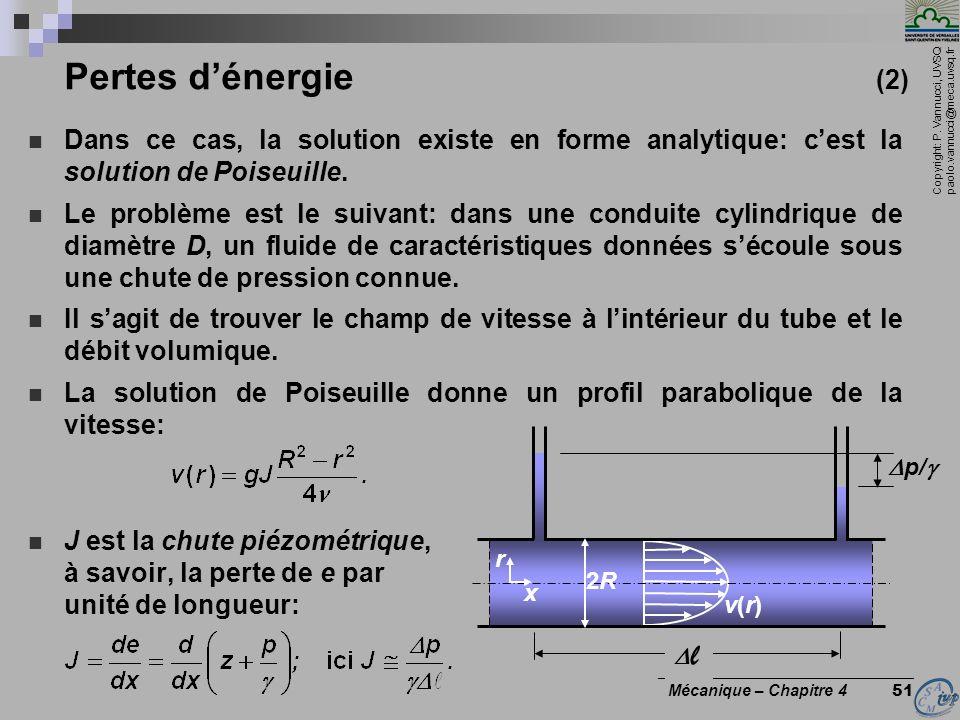 Pertes d'énergie (2) Dans ce cas, la solution existe en forme analytique: c'est la solution de Poiseuille.