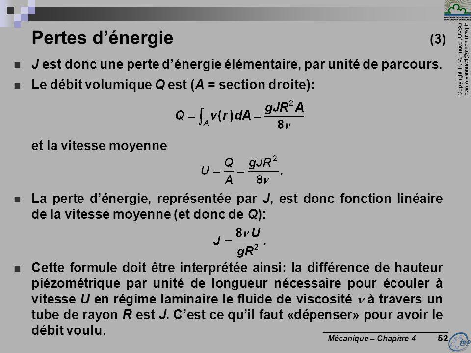 Pertes d'énergie (3) J est donc une perte d'énergie élémentaire, par unité de parcours. Le débit volumique Q est (A = section droite):