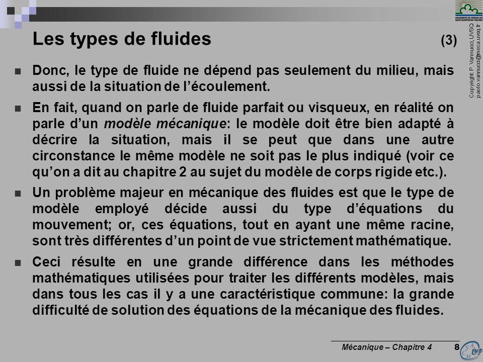 Les types de fluides (3) Donc, le type de fluide ne dépend pas seulement du milieu, mais aussi de la situation de l'écoulement.