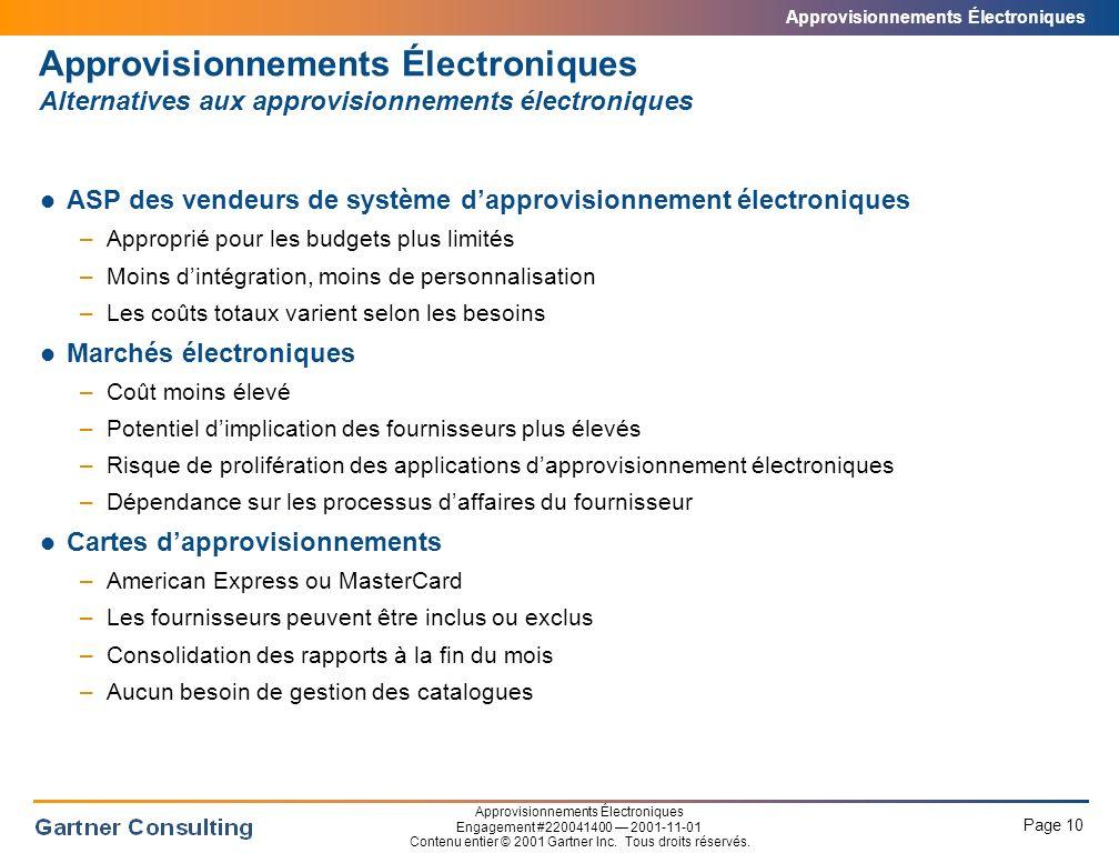 Approvisionnements Électroniques Aucun vendeur de systèmes a présentement une offre de service couvrant l'entièreté des besoins