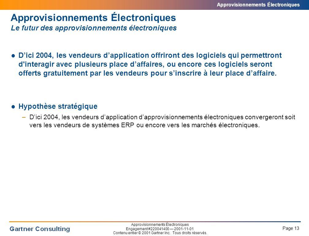 Approvisionnements Électroniques Sommaire