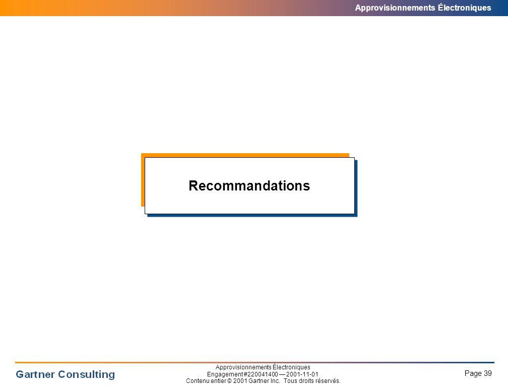 Sommaire des recommandations