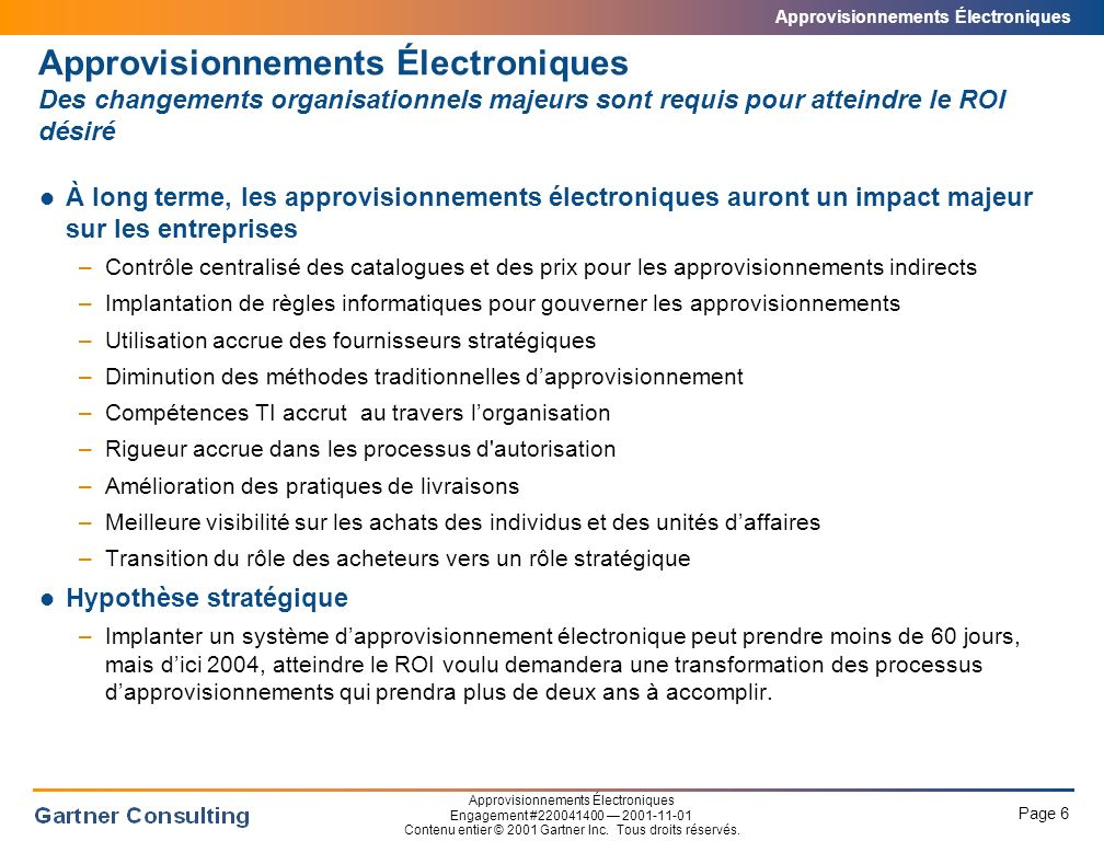 Approvisionnements Électroniques Le coût reliés aux approvisionnements électroniques
