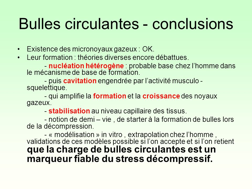 Bulles circulantes - conclusions