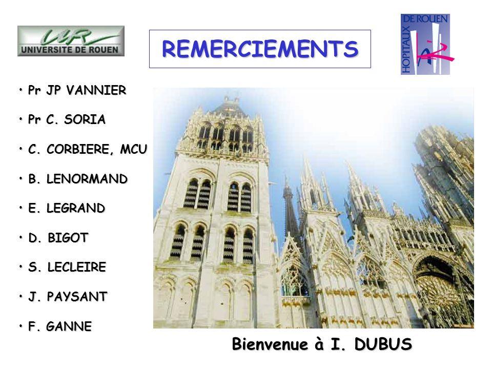 REMERCIEMENTS Bienvenue à I. DUBUS Pr JP VANNIER Pr C. SORIA