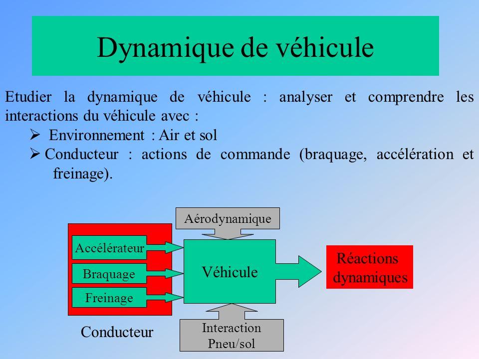 Dynamique de véhicule Etudier la dynamique de véhicule : analyser et comprendre les interactions du véhicule avec :