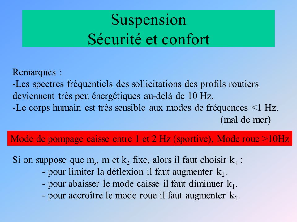 Suspension Sécurité et confort