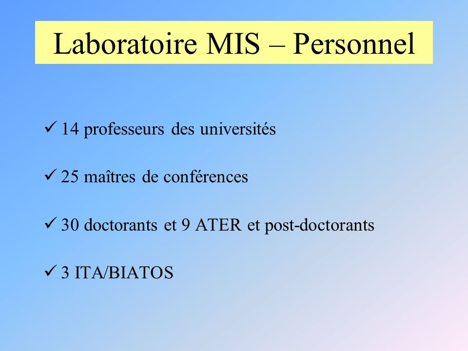 Laboratoire MIS – Personnel