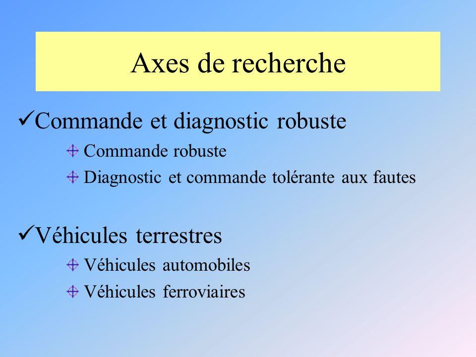 Axes de recherche Commande et diagnostic robuste Véhicules terrestres