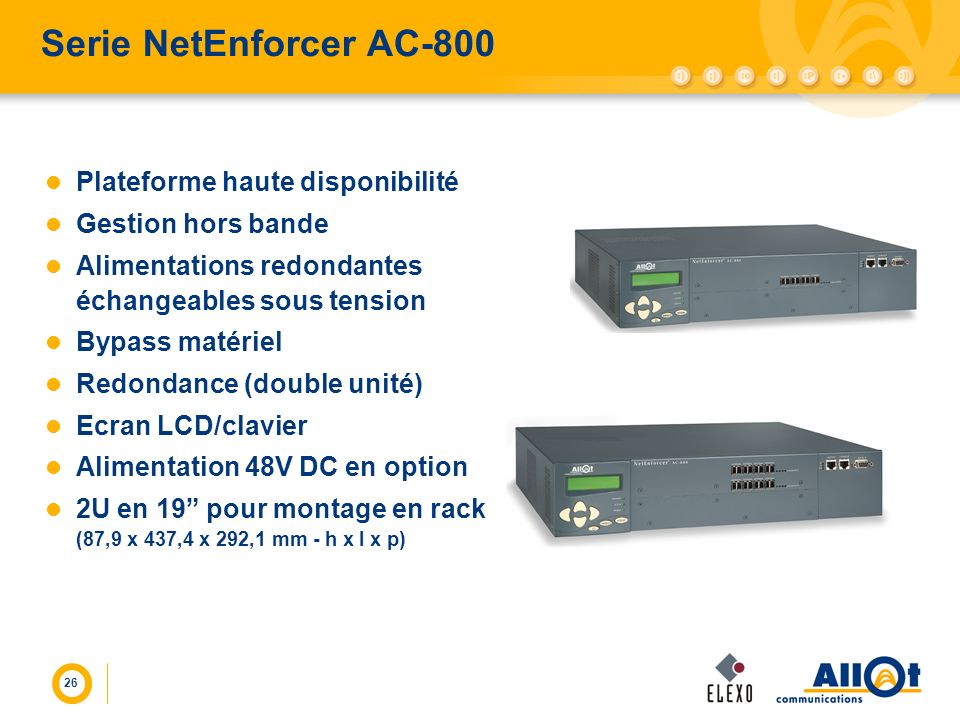 Serie NetEnforcer AC-800 Plateforme haute disponibilité