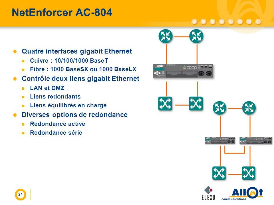 NetEnforcer AC-804 Quatre interfaces gigabit Ethernet