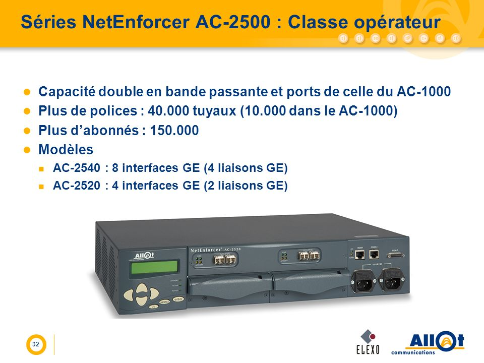 Séries NetEnforcer AC-2500 : Classe opérateur
