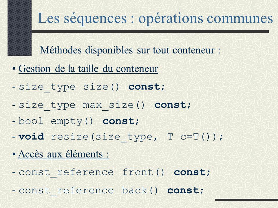 Les séquences : opérations communes
