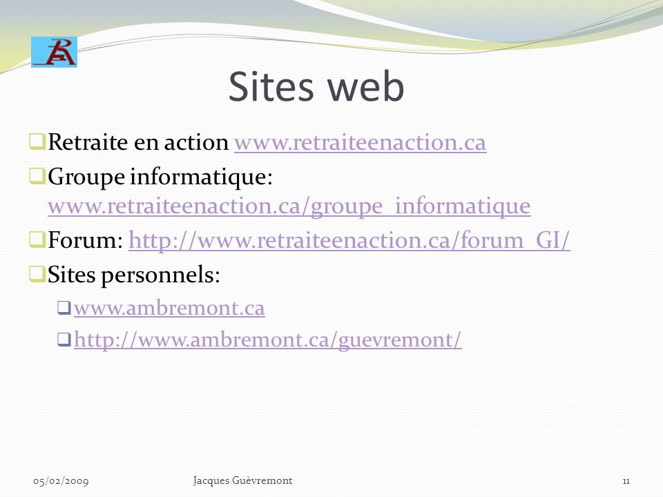 Sites web Retraite en action www.retraiteenaction.ca