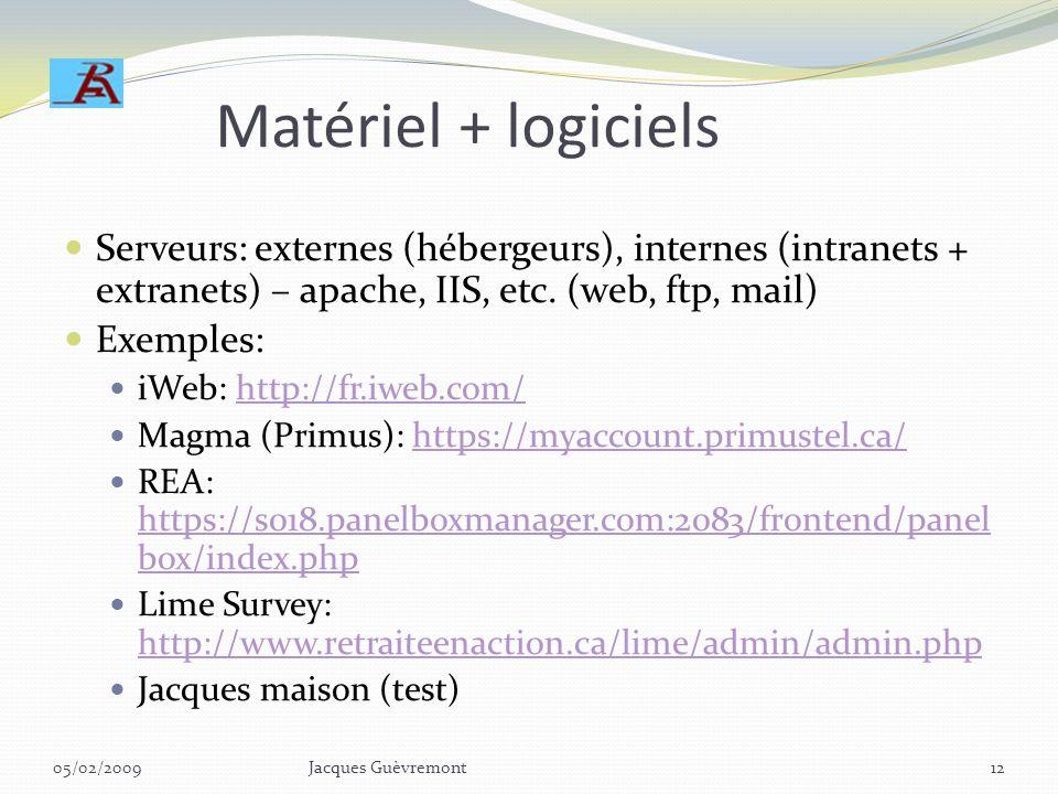 Matériel + logiciels Serveurs: externes (hébergeurs), internes (intranets + extranets) – apache, IIS, etc. (web, ftp, mail)