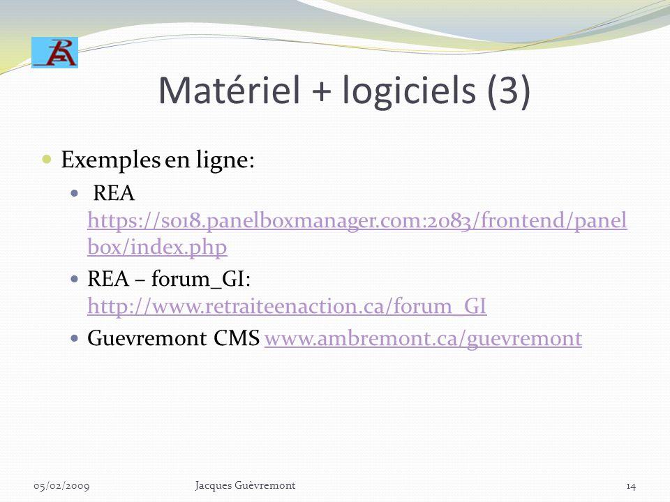 Matériel + logiciels (3)