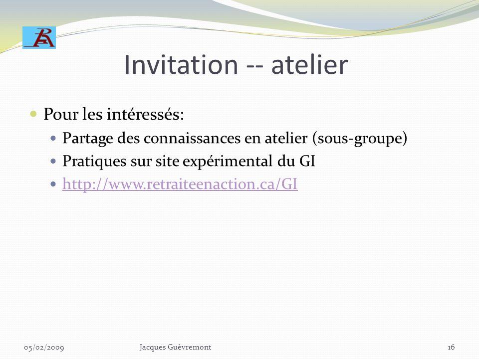 Invitation -- atelier Pour les intéressés: