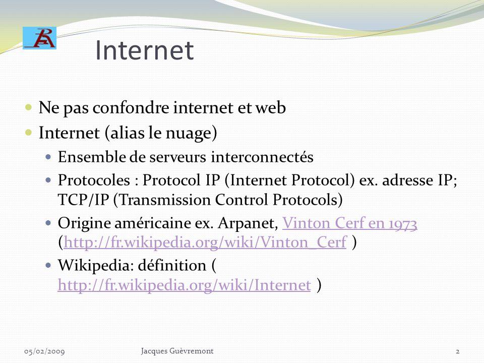 Internet Ne pas confondre internet et web Internet (alias le nuage)