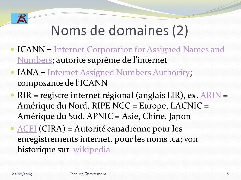 Noms de domaines (2) ICANN = Internet Corporation for Assigned Names and Numbers; autorité suprême de l'internet.
