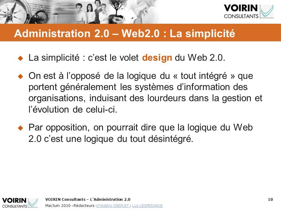Administration 2.0 – Web2.0 : La simplicité