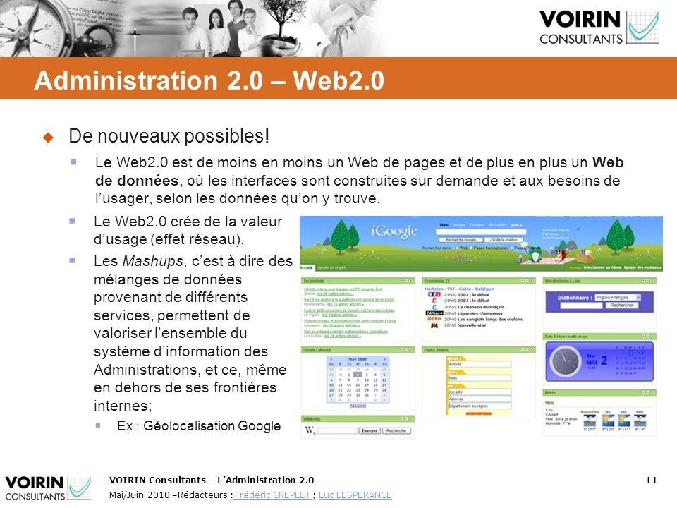 Administration 2.0 – Web2.0 De nouveaux possibles!