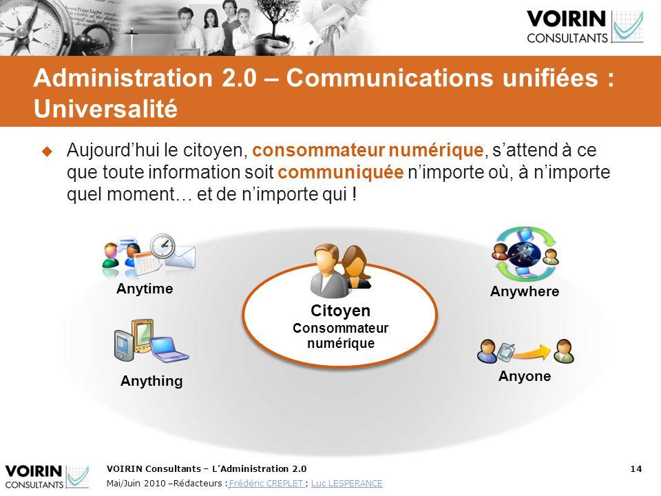 Administration 2.0 – Communications unifiées : Universalité