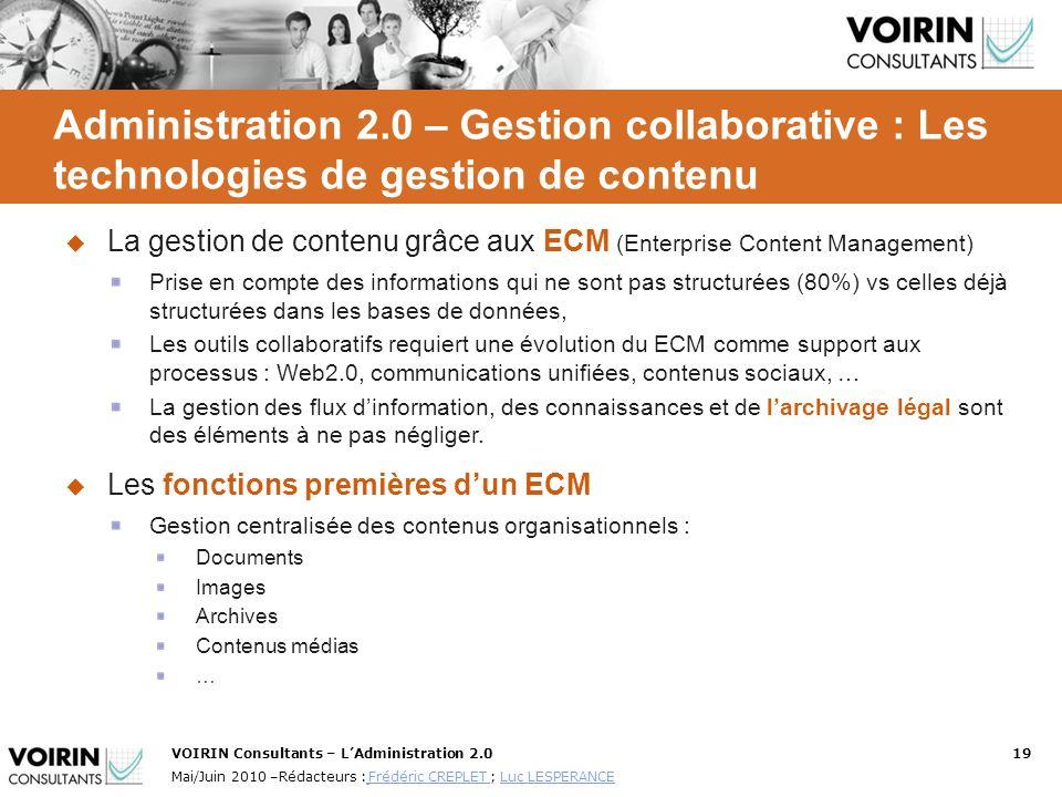 Administration 2.0 – Gestion collaborative : Les technologies de gestion de contenu