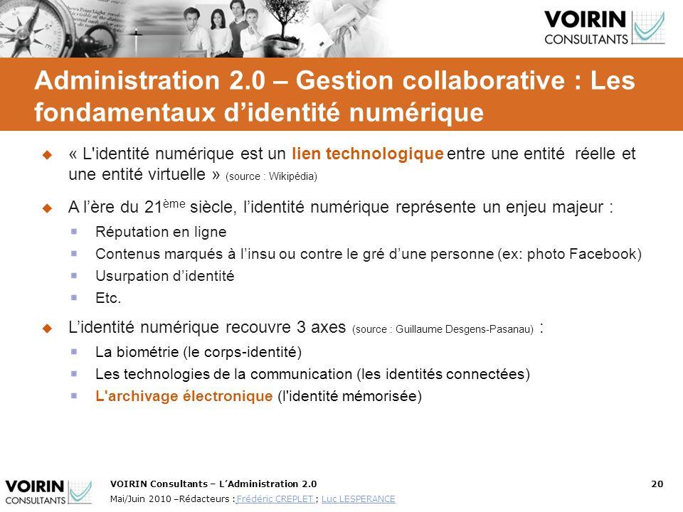 Administration 2.0 – Gestion collaborative : Les fondamentaux d'identité numérique