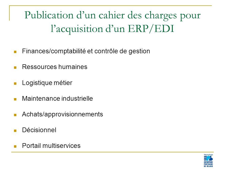 Publication d'un cahier des charges pour l'acquisition d'un ERP/EDI