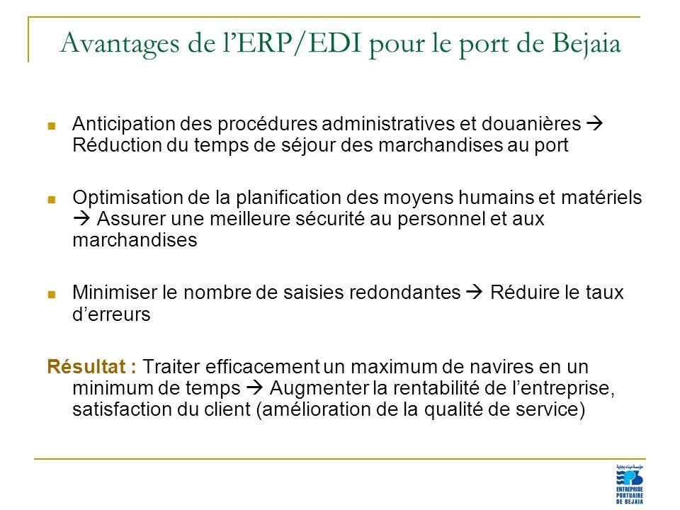 Avantages de l'ERP/EDI pour le port de Bejaia