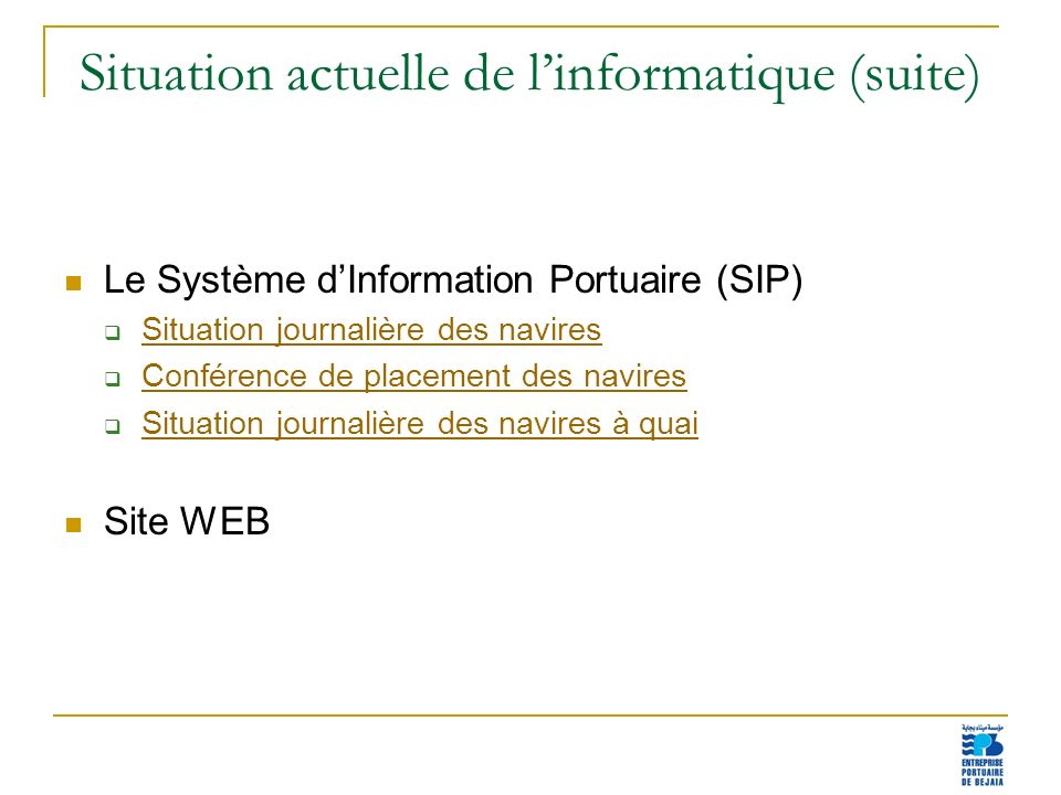 Situation actuelle de l'informatique (suite)