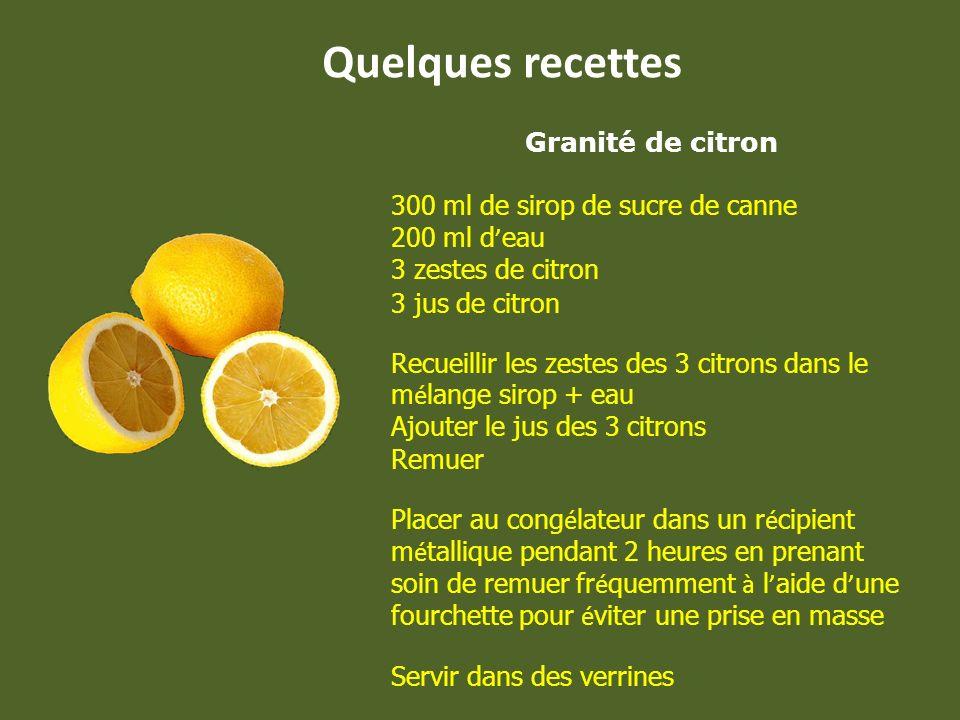 Quelques recettes Granité de citron 300 ml de sirop de sucre de canne