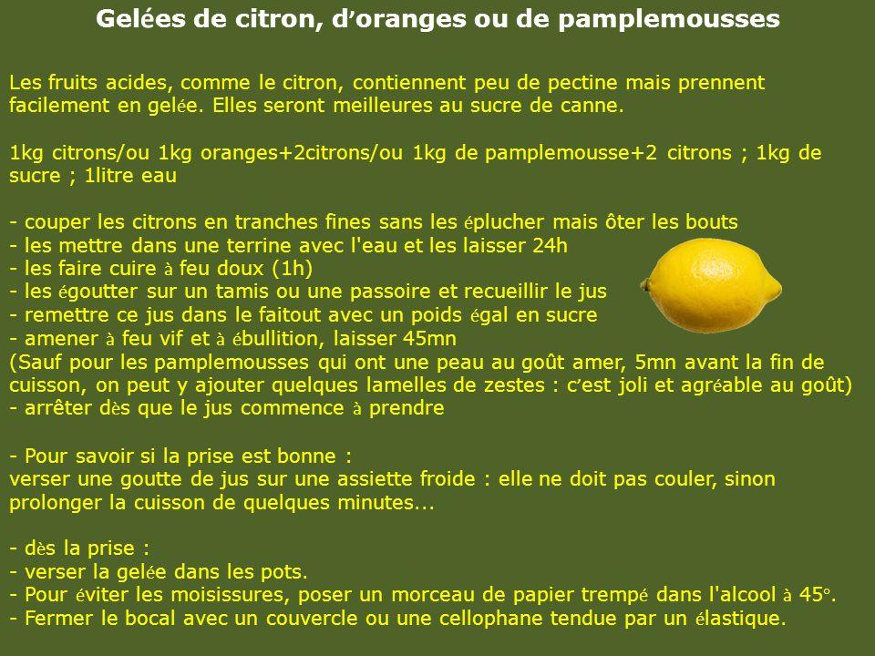 Gelées de citron, d'oranges ou de pamplemousses