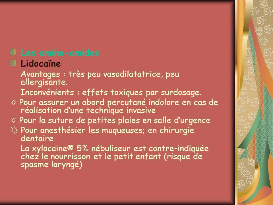 Les amino-amides Lidocaïne